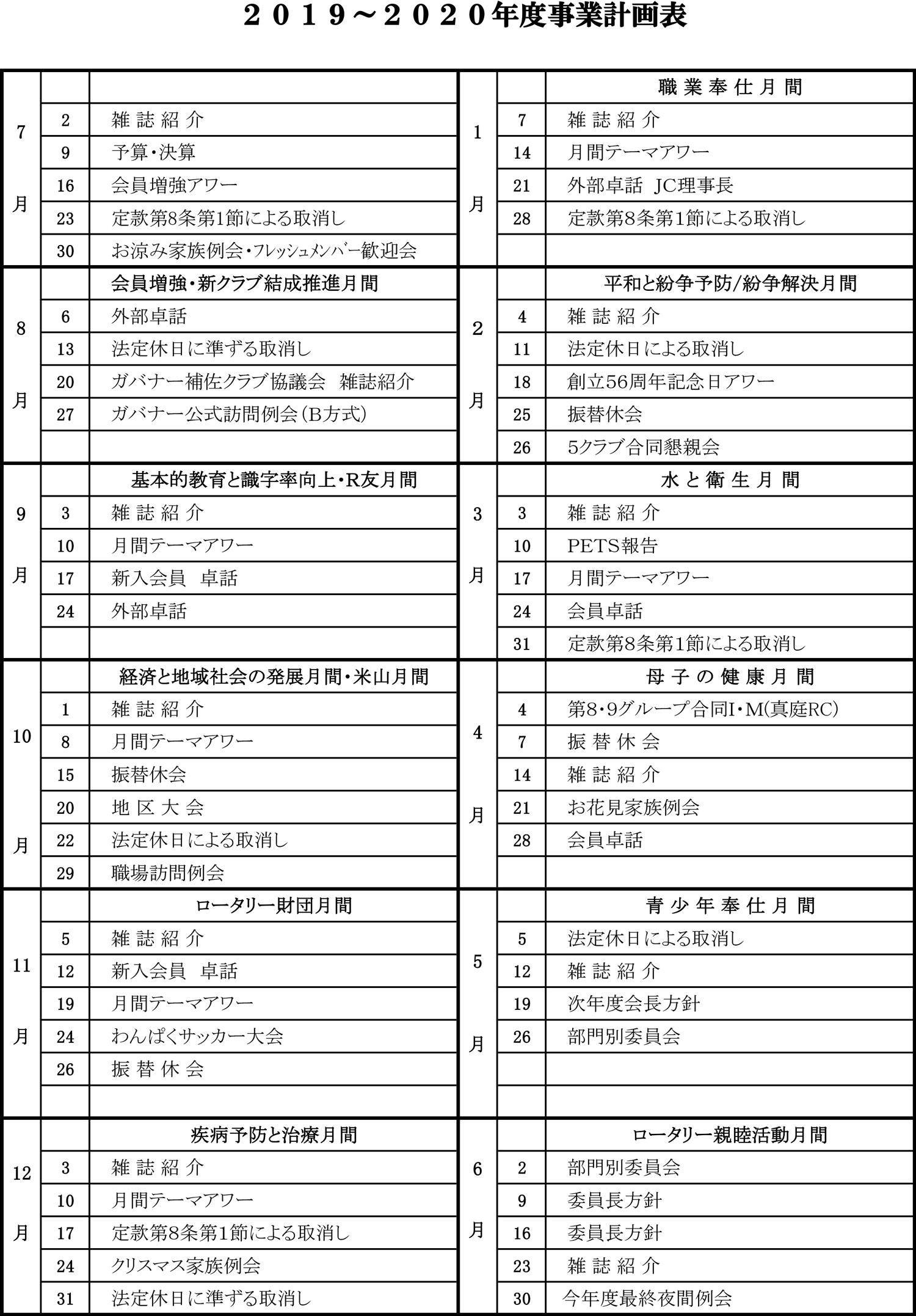 2018-2019年間計画